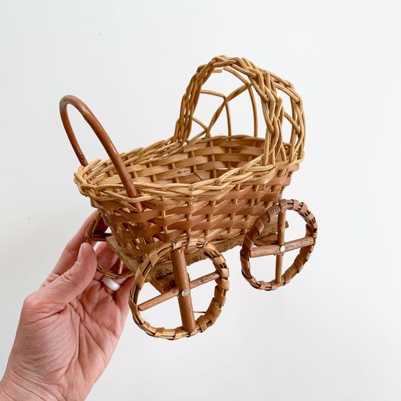 Vintage Other - Vintage Boho Wicker Baby Carriage Mini